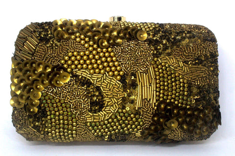 EthniCache Clutch Designer Golden Beads Hand Purse