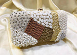 EthniCache Clutch Designer White and Brown Beads Hand Purse