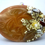 EthniCache Clutch Floral Pattern Oval Resin Clutch Bag