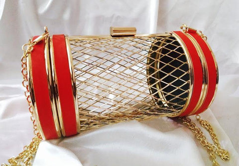 EthniCache Clutch Red Netted Metal Clutch Bag