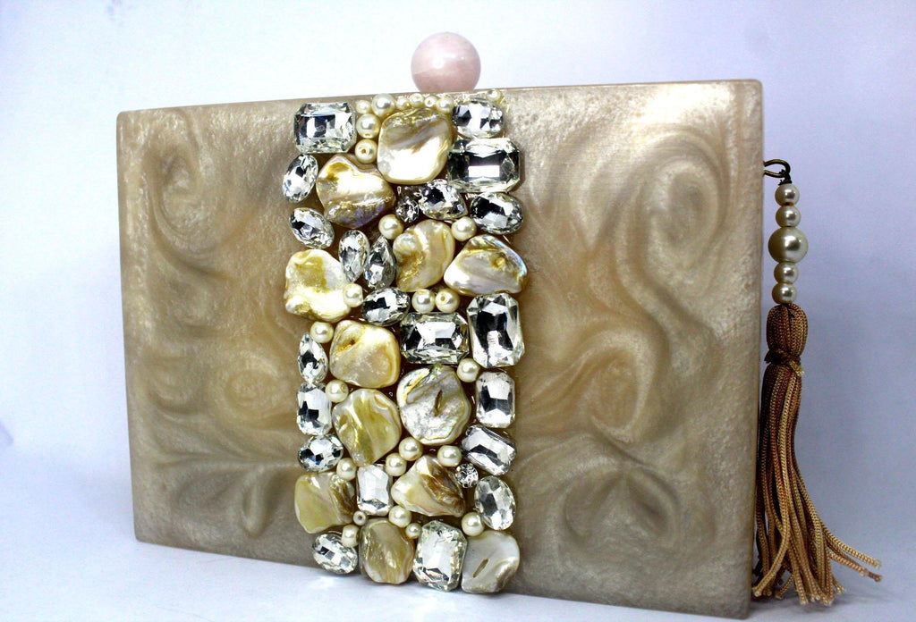EthniCache Clutch Resin Clutch Bag with Studded Crystals and Stones