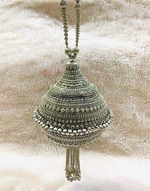 EthniCache Clutch Silver Colored Metal Round Hand Purse with Ghungroo Work