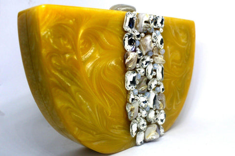 EthniCache Clutch Yellow Resin Clutch Bag with Studded Crystals
