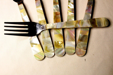 EthniCache Cutlery Handcrafted Mother-of-Pearl Forks Cutlery Set (Set of 6)