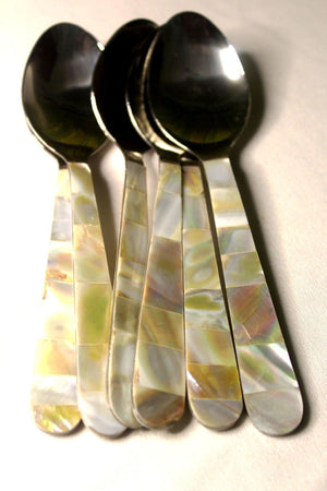 EthniCache Cutlery Handcrafted Mother-of-Pearl Spoons Cutlery Set (Set of 6)