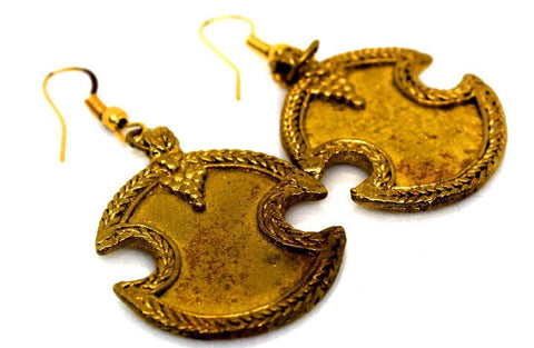 EthniCache Dhokra Jewelry Brass Burnt Dhokra Earrings