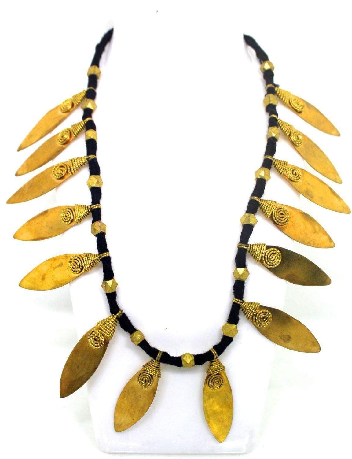 EthniCache Dhokra Jewelry Brass Leaves Dhokra Necklace