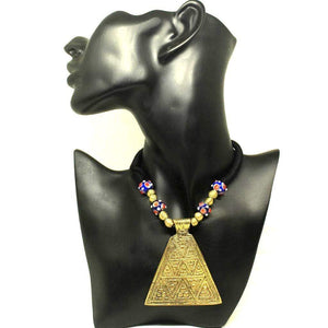 EthniCache Dhokra Jewelry Brass Triangle Dhokra Necklace