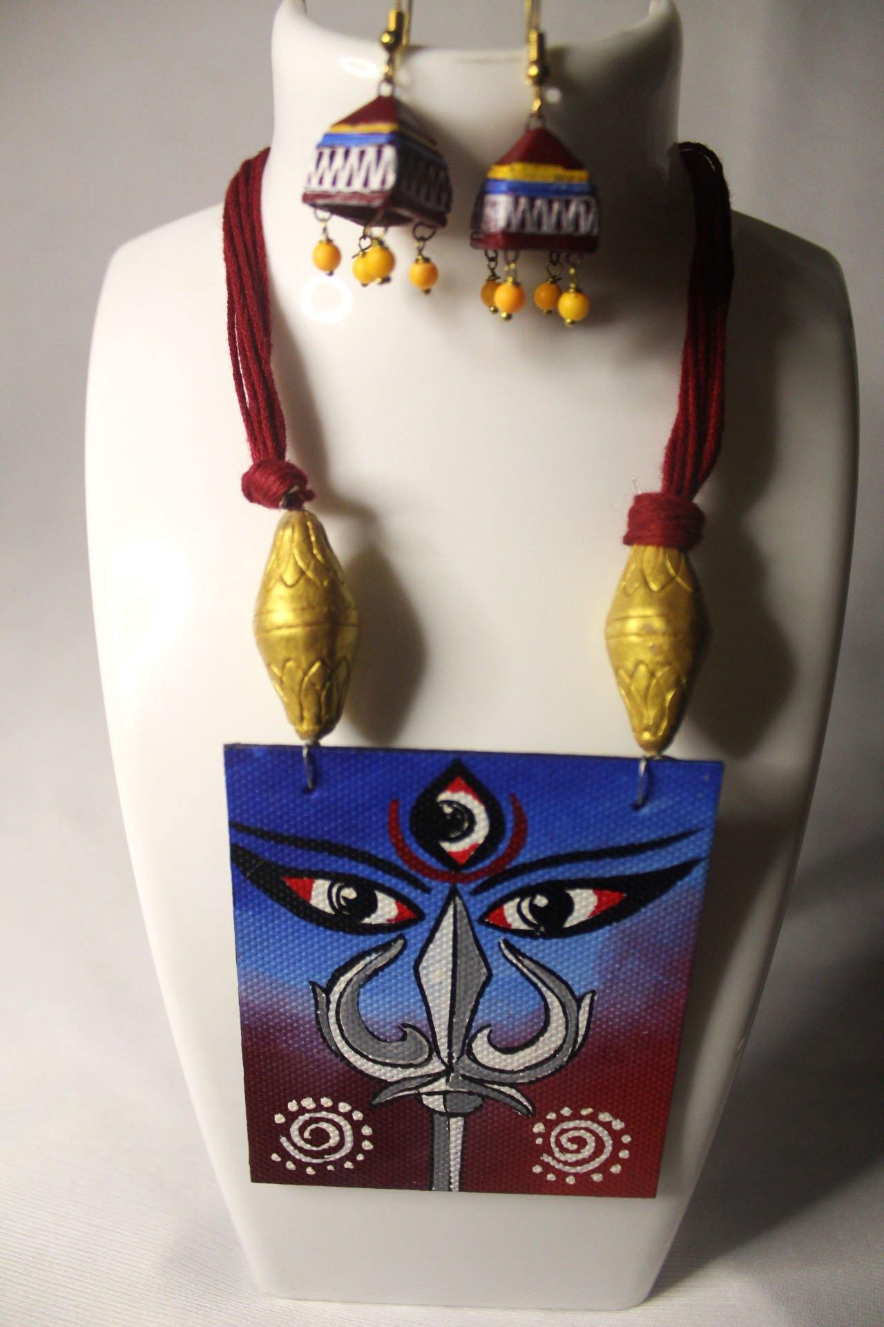 EthniCache Hand Painted Jewelry Blush Hand Painted Terracotta and Wood Jewelry Set