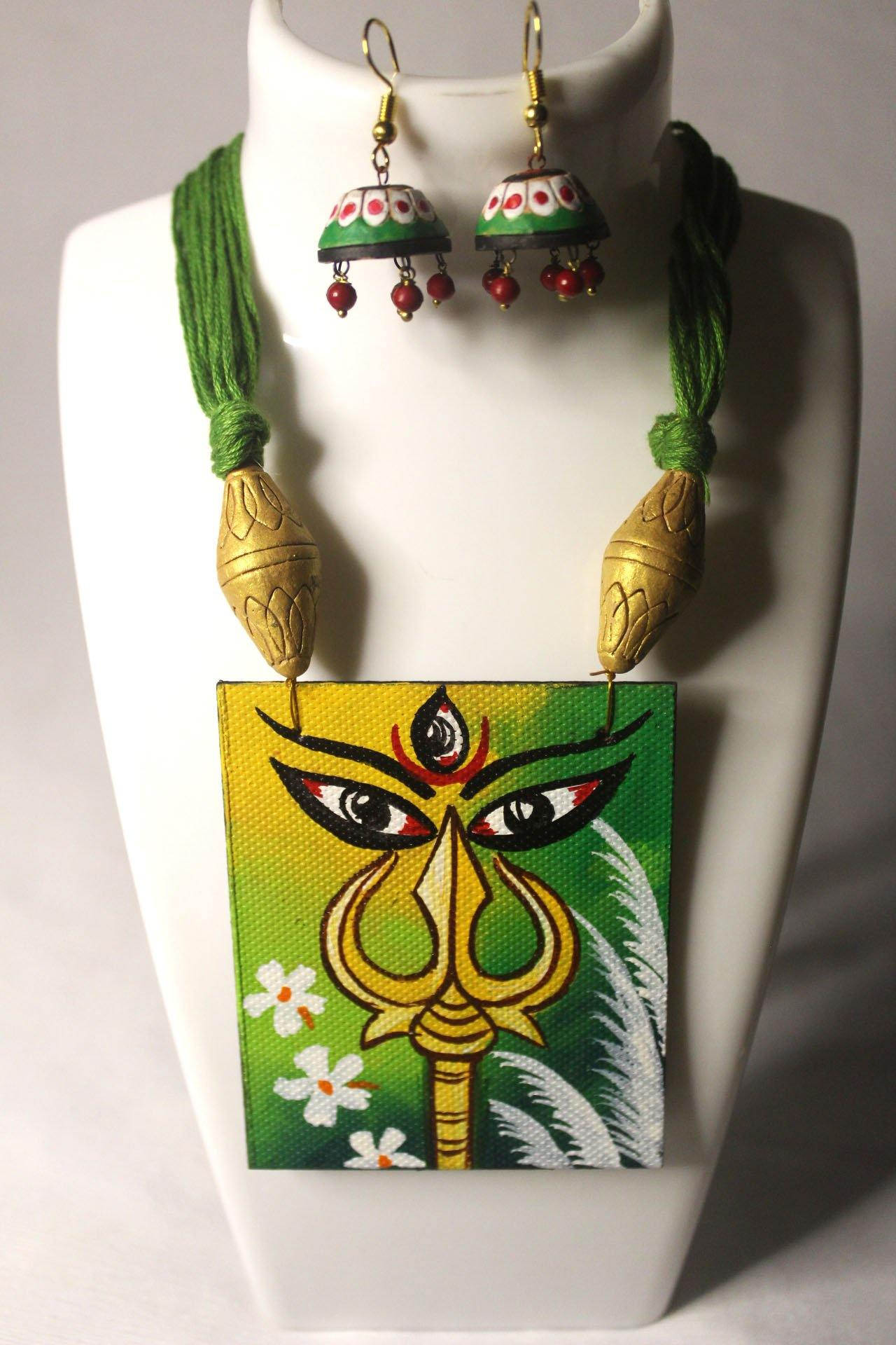 EthniCache Hand Painted Jewelry Celestial Hand Painted Terracotta and Wood Jewelry Set