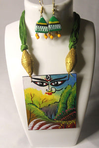 EthniCache Hand Painted Jewelry Divine Hand Painted Terracotta and Wood Jewelry Set