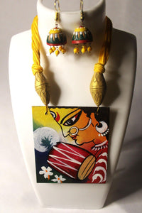 EthniCache Hand Painted Jewelry Flames Hand Painted Wood & Terracotta Jewelry Set