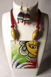 EthniCache Hand Painted Jewelry Goddess Hand Painted Terracotta and Wood Jewelry Set