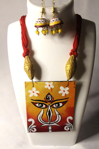 EthniCache Hand Painted Jewelry Immortal Hand Painted Terracotta and Wood Jewelry Set