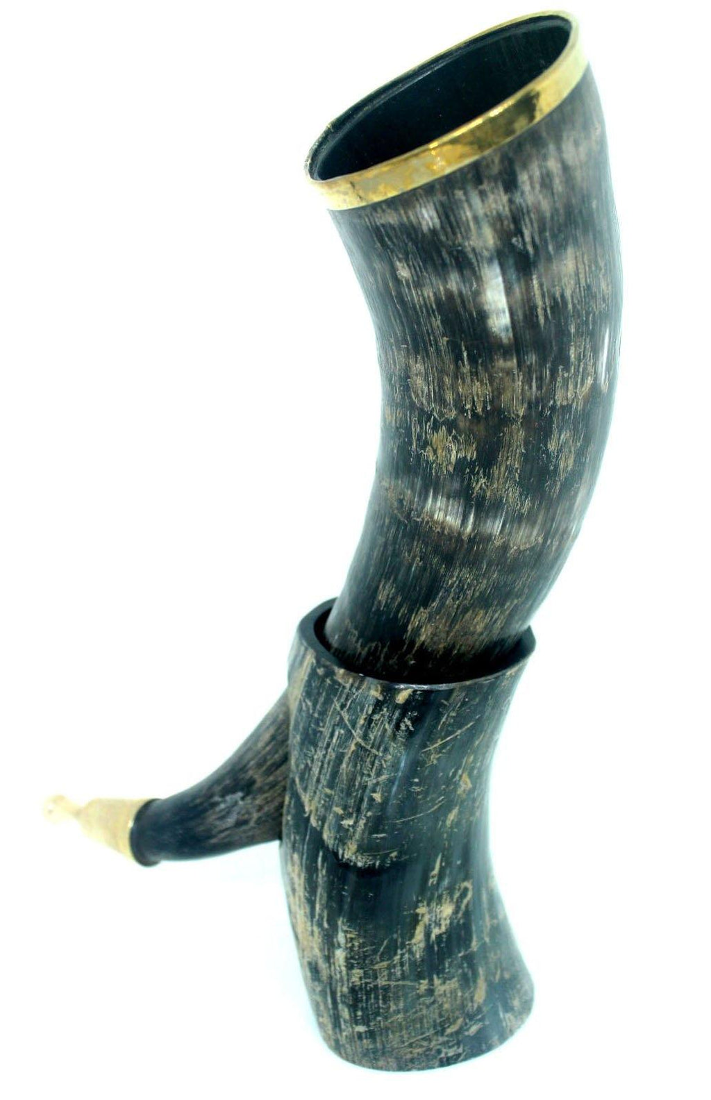 EthniCache Hornmug Bronze Tipped Drinking Horn With Stand