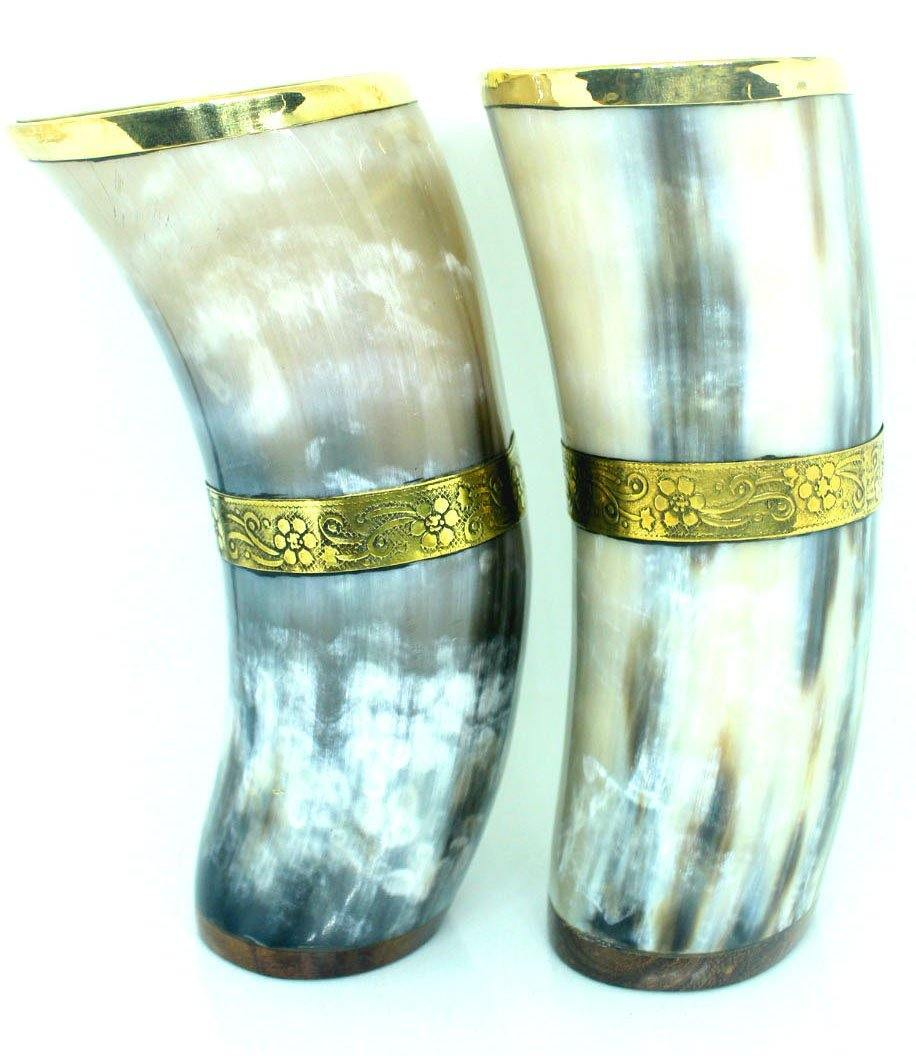 EthniCache Hornmug Horn Water Glasses Set of 2