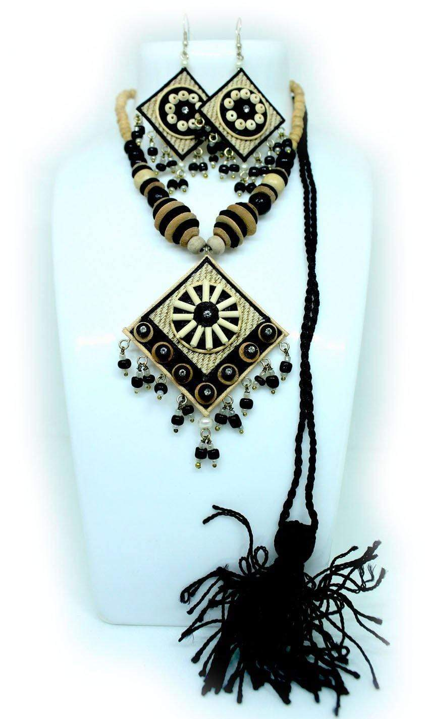 EthniCache Jute Jewelry Ethnic Black Jute Set