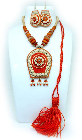 EthniCache Jute Jewelry Fiery Orange Jute Set