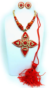 EthniCache Jute Jewelry Flame Orange Jute Set