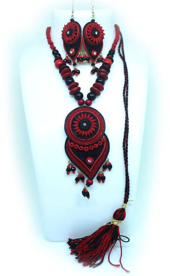EthniCache Jute Jewelry Heart Red Jute Set