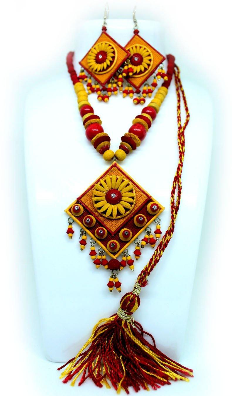 EthniCache Jute Jewelry Marigold Yellow Jute Set