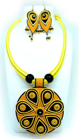 EthniCache Jute Jewelry Odisi Yellow Jute Set