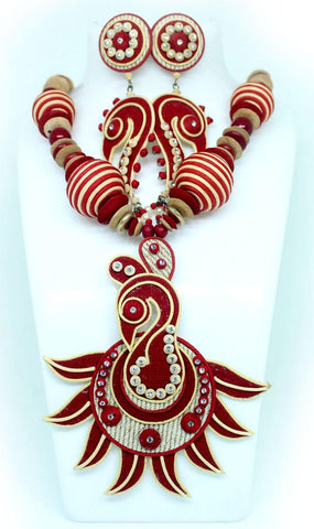 EthniCache Jute Jewelry Peacock Red Jute Set