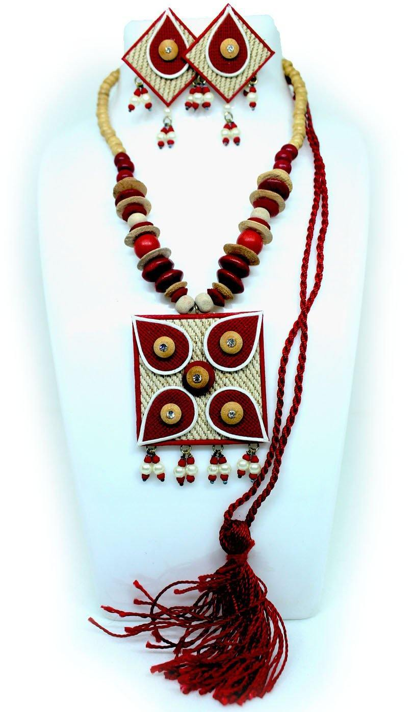EthniCache Jute Jewelry Square Red Jute Set