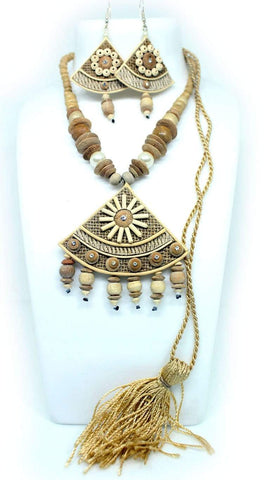 EthniCache Jute Jewelry Triangle Grey Jute Set