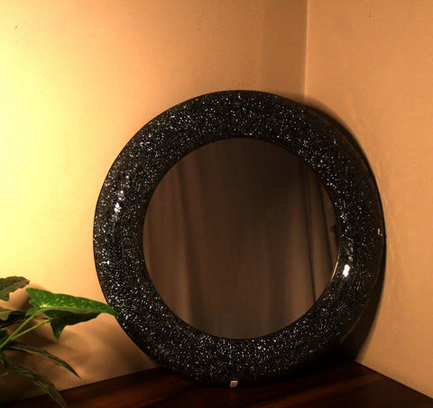 EthniCache Mirror Large Mirror With Handmade Black Crackle Frame