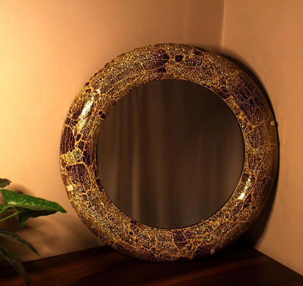 EthniCache Mirror Large Mirror With Handmade Cola Crackle Frame
