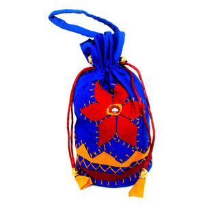 EthniCache Potli Handcrafted Fiery Blue Applique Pouch Bag