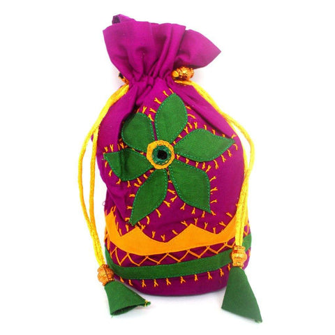 EthniCache Potli Handcrafted Pink Overload Applique Pouch Bag