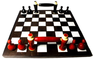 EthniCache Serving Tray Handmade Black & Red Chessboard Wooden Serving Tray