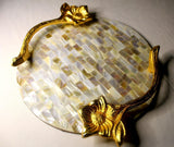 EthniCache Serving Tray Handmade Mother-of-Pearl Tile Patterned Round Serving Tray