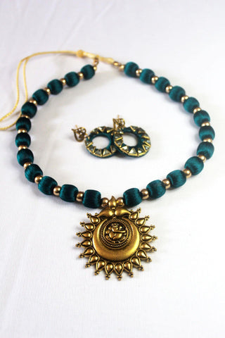 EthniCache Silk Thread Jewelry Blue & Bronze Silk Thread Jewelry Set