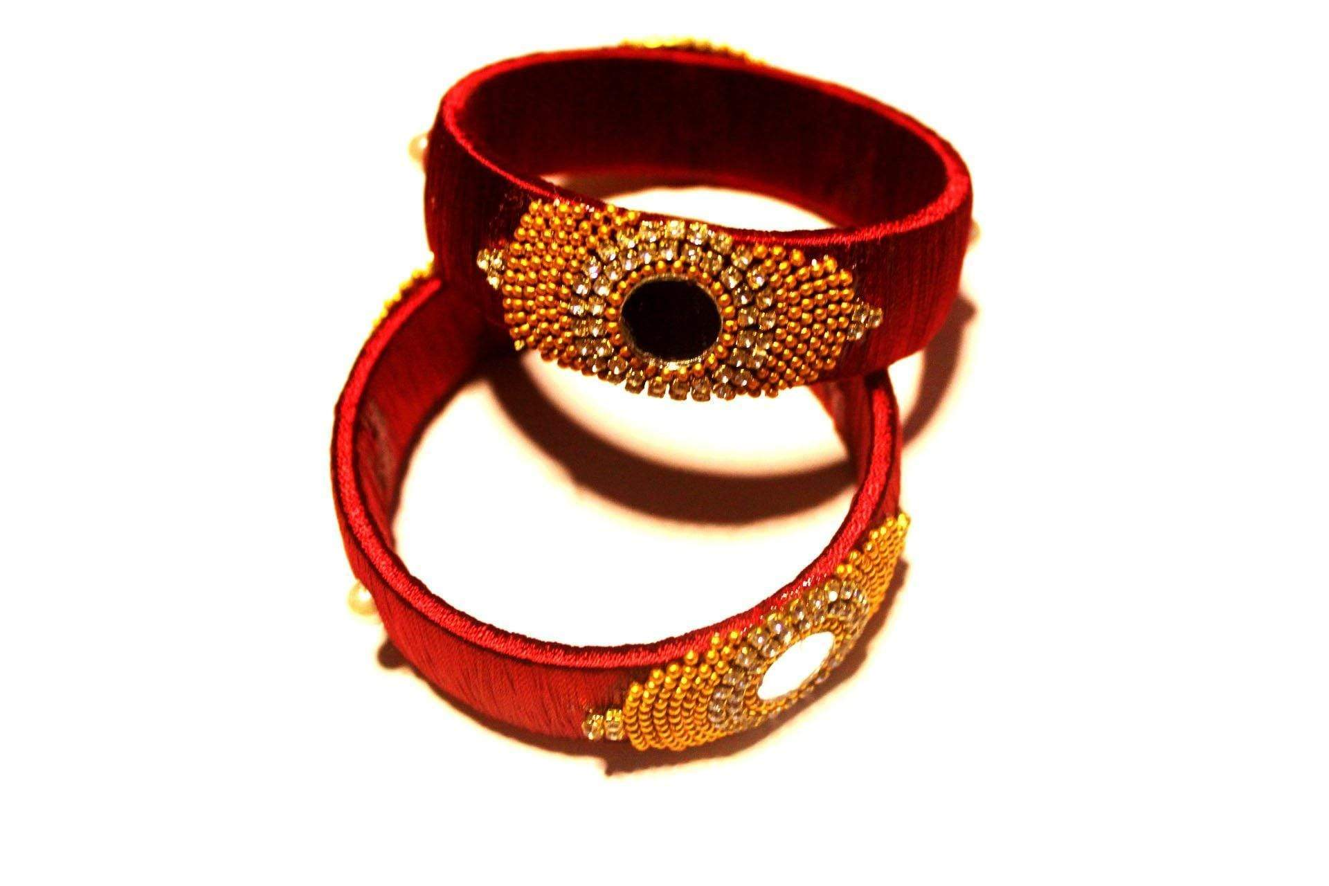 EthniCache Silk Thread Jewelry Bridal Red Ornamental Ethnic Silk Thread Bangle  (Set of 2 pieces)