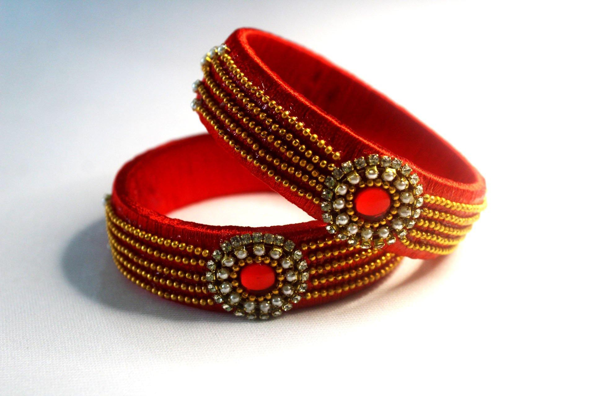 EthniCache Silk Thread Jewelry Bridal Red Traditional Silk Thread Bangle Set (Set of 2 pieces)