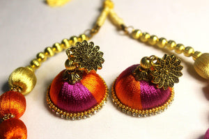 EthniCache Silk Thread Jewelry Colorful Ethnic Silk Thread Jewelry Set