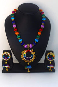 EthniCache™ Silk Thread Jewelry Colourful Silk Thread Necklace Set