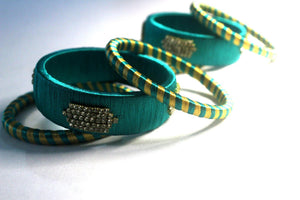 EthniCache Silk Thread Jewelry Fern Green Ethnic Silk Thread Bangle Set (Set of 6 pieces)