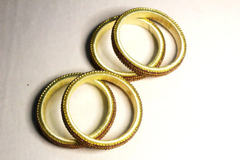 EthniCache Silk Thread Jewelry Light Yellow Ornamental Ethnic Silk Thread Bangle Set (Set of 4 pieces)