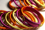EthniCache Silk Thread Jewelry Mixed Colors Traditional Silk Thread Bangle Set (Set of 14 pieces)