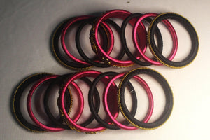 EthniCache Silk Thread Jewelry Pink & Black Ornamental Ethnic Silk Thread Bangle Set (Set of 14 pieces)