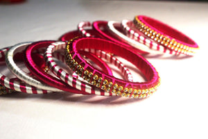 EthniCache Silk Thread Jewelry Pink & White Ornamental Ethnic Silk Thread Bangle Set (Set of 12 pieces)