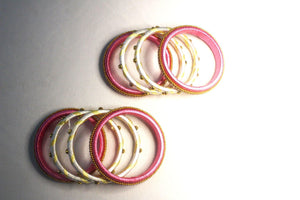 EthniCache Silk Thread Jewelry Pink & White Traditional Silk Thread Bangle Set (Set of 8 pieces)