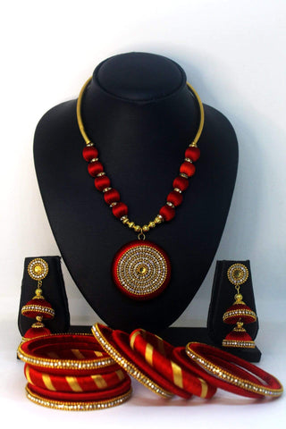 EthniCache™ Silk Thread Jewelry Red  and Golden Silk Thread Necklace and Bangle Set