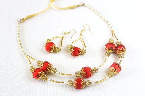 EthniCache Silk Thread Jewelry Red & Golden Silk Thread Contemporary Jewelry Set