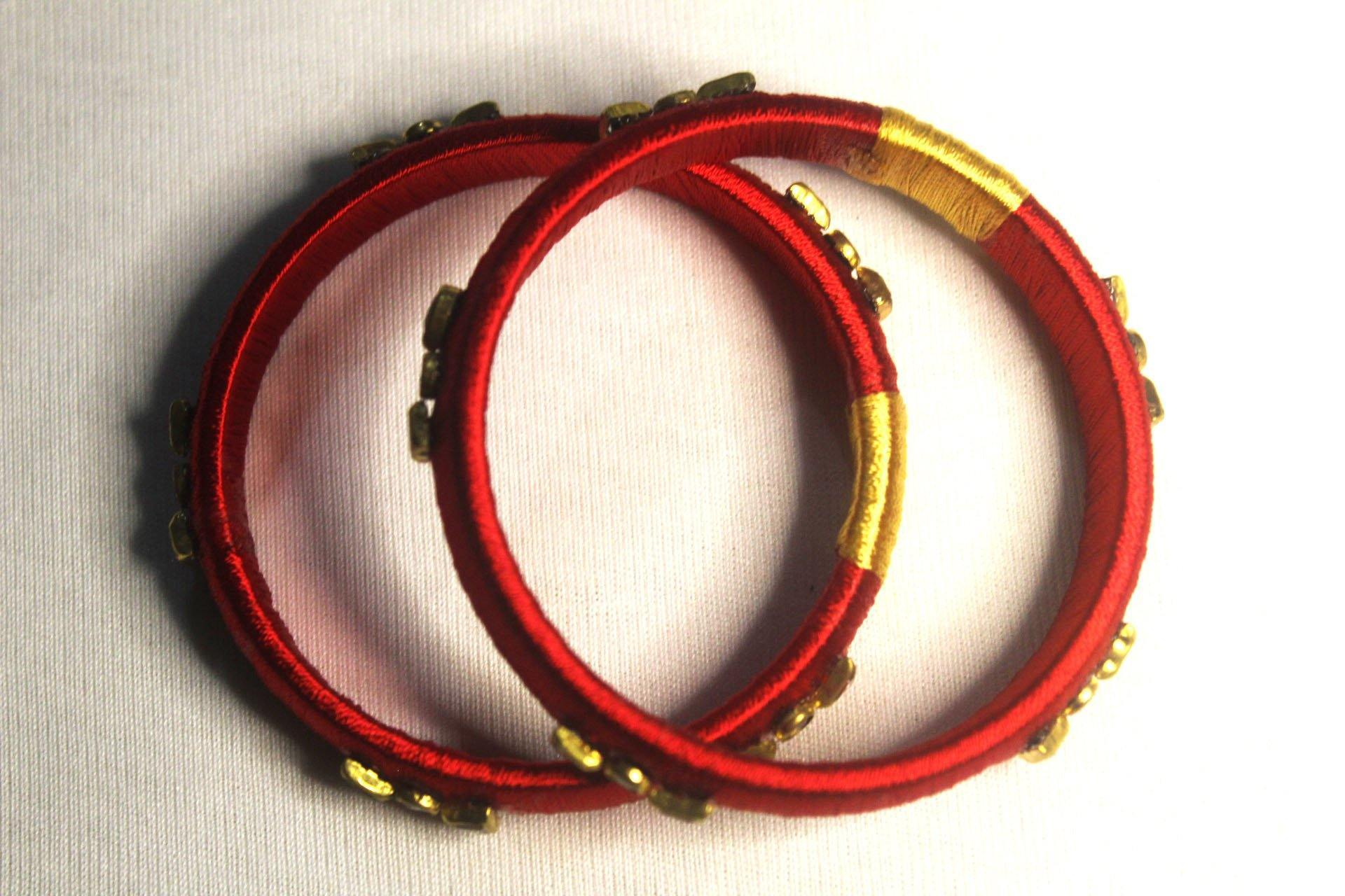 EthniCache Silk Thread Jewelry Red & Yellow Simple Ethnic Silk Thread Bangle Set (Set of 2 pieces)