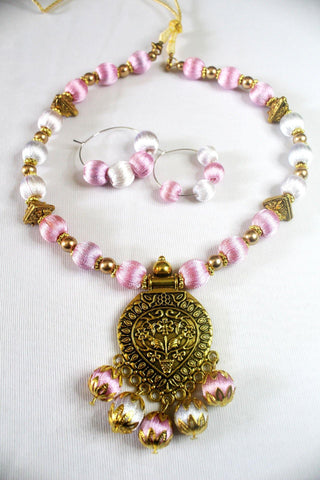 EthniCache Silk Thread Jewelry Rose White Ethnic Silk Thread Jewelry Set